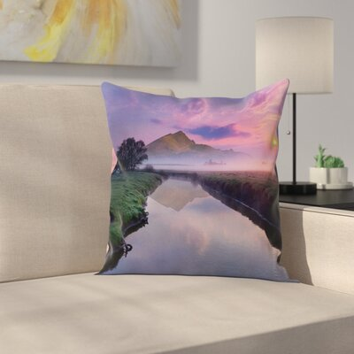 Nature Misty Sunrise on River Square Pillow Cover Size: 16 x 16