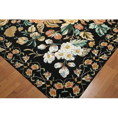 One-of-a-Kind Repass Oriental Needlepoint Hand Woven Wool Black/Ivory Area Rug