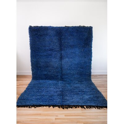 One-of-a-kind Tasaf Beni Ourain Hand-Woven Wool Blue Area Rug