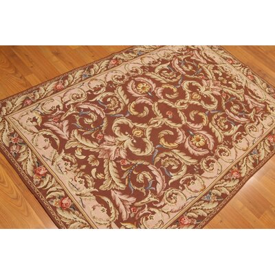 One-of-a-Kind Reasor Needlepoint Hand-Knotted Wool Brown/Pale Pink Area Rug