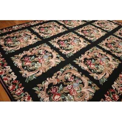 One-of-a-Kind Reay Needlepoint Hand-Knotted Wool Black/Pale Pink Area Rug