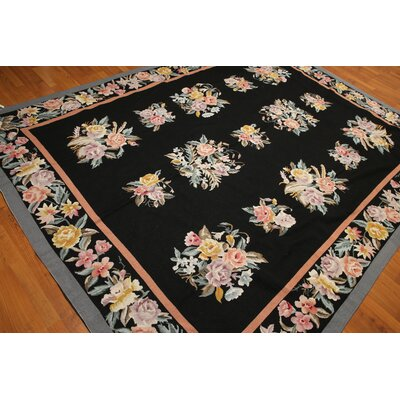 One-of-a-Kind Rech Needlepoint Hand-Knotted Wool Black/Blue Area Rug
