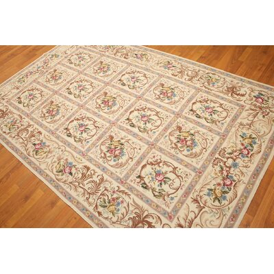 One-of-a-Kind Redinger Needlepoint Hand-Knotted Wool Beige Area Rug