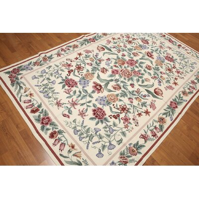 One-of-a-Kind Repass Oriental Needlepoint Hand-Knotted Wool Ivory/Pale Area Rug