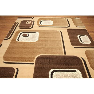 One-of-a-Kind Losoya Hand-Knotted Wool Light Brown/Dark Brown Area Rug