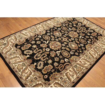 One-of-a-Kind Regil Hand-Knotted Wool Black/Beige Area Rug