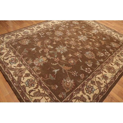 One-of-a-Kind Reedy Hand-Knotted Wool Chocolate/Beige Area Rug