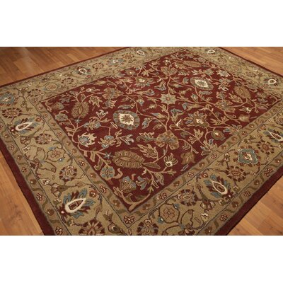 One-of-a-Kind Regan Hand-Knotted Wool Maroon/Beige Area Rug