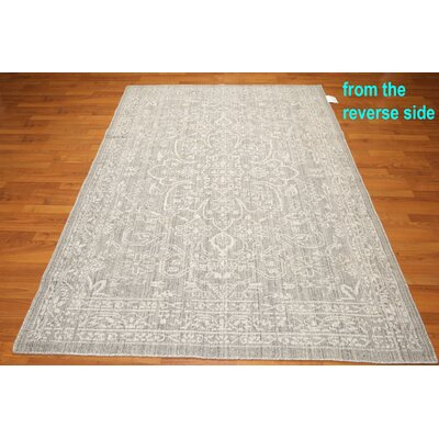 One-of-a-Kind Dimauro Hemp Kilim Hand-Knotted Wool Tone on Tone Gray Area Rug