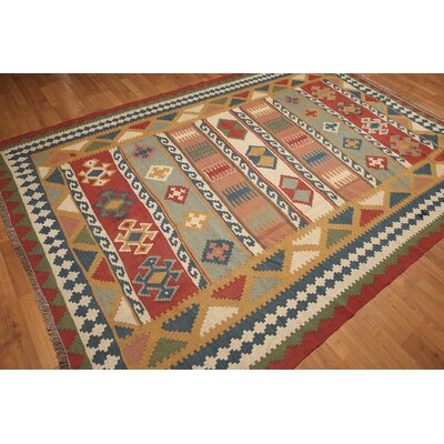 One-of-a-Kind Rickards Hand-Knotted Wool Rust/Blue Area Rug