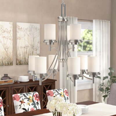Dashiell 9-Light Chain Shaded Chandelier Finish: Brushed Nickel, Bulb Type: Incandescent A19 100W