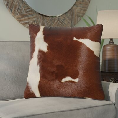 Graham Classic Leather Throw Pillow Color: Brown/White