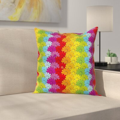 Waterproof Floral Graphic Print Pillow Cover with Zipper Size: 24 x 24