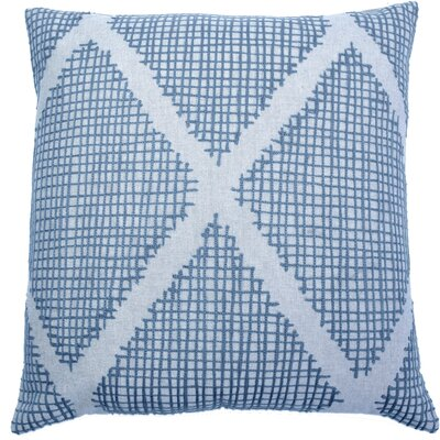 Doradus Thatched Diamond Embroidery Cotton Pillow Cover Color: Blue