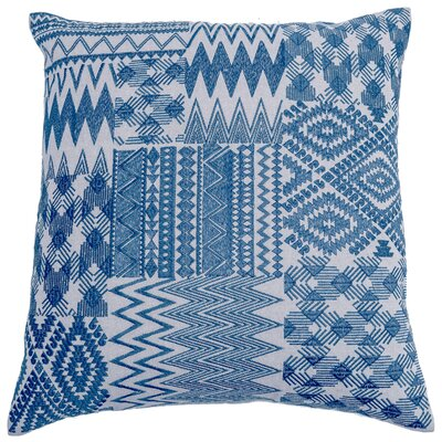Overbeck Embroidered Patchwork Linen Pillow Cover Color: Navy