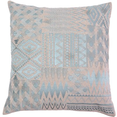 Overbeck Embroidered Patchwork Linen Pillow Cover Color: Turquoise