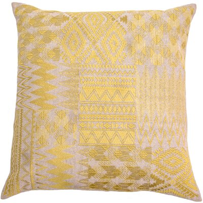 Overbeck Embroidered Patchwork Linen Pillow Cover Color: Yellow