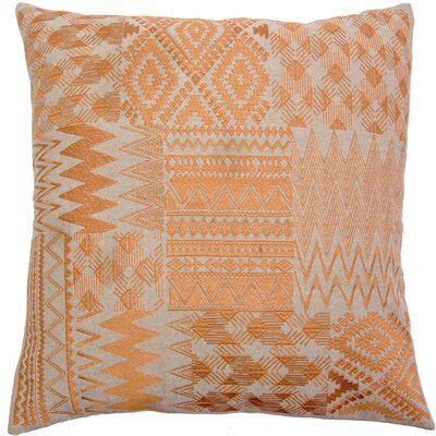 Overbeck Embroidered Patchwork Linen Pillow Cover Color: Orange