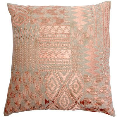 Overbeck Embroidered Patchwork Linen Pillow Cover Color: Coral