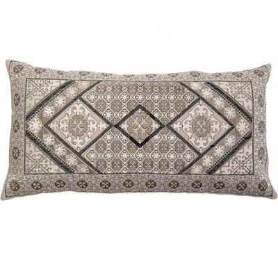 Ovellette Tile Embroidery Linen Pillow Cover Color: Gray