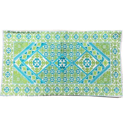 Ovellette Tile Embroidery Linen Pillow Cover Color: Turquoise