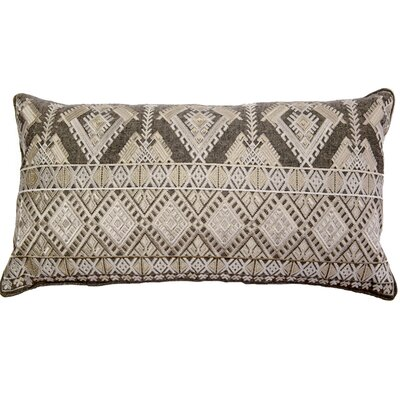 Outten Diamond Geo Embroidery Linen Pillow Cover Color: Ivory