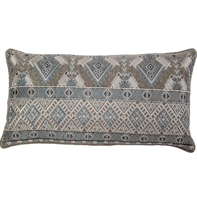Outten Diamond Geo Embroidery Linen Pillow Cover Color: Turquoise