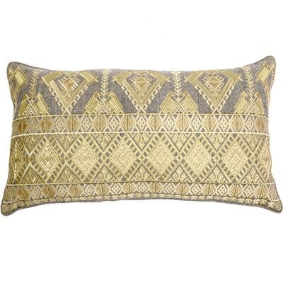 Outten Diamond Geo Embroidery Linen Pillow Cover Color: Gold