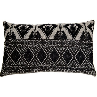 Outten Diamond Geo Embroidery Linen Pillow Cover Color: Black