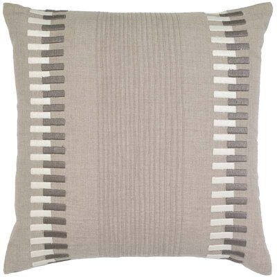 Sackett Pintucks and Rectangle Embroidery Linen Pillow Cover