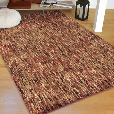 Caston Solid Design Red/Beige Area Rug