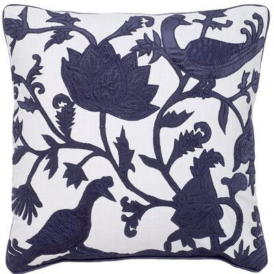 Adger Floral Bird Applique Embroidery Pillow Cover Color: Navy