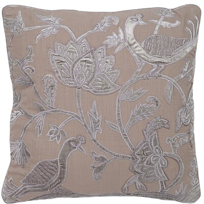 Adger Floral Bird Applique Embroidery Pillow Cover Color: Gray