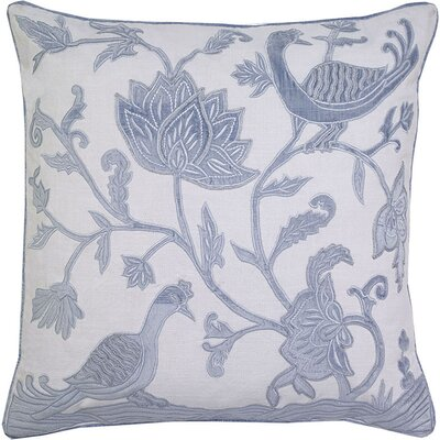 Adger Floral Bird Applique Embroidery Pillow Cover Color: Skyblue