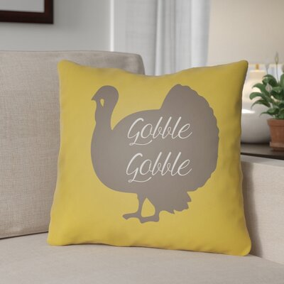 Contemporary Gobble Indoor/Outdoor Throw Pillow Size: 20 H x 20 W x 4 D, Color: Yellow/Brown/White