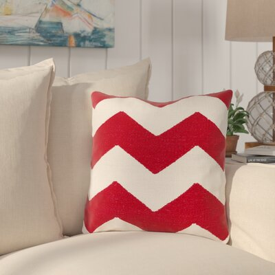 Vaughan Cotton Throw Pillow Size: 18 H x 18 W x 4 D, Color: Red, Filler: Down