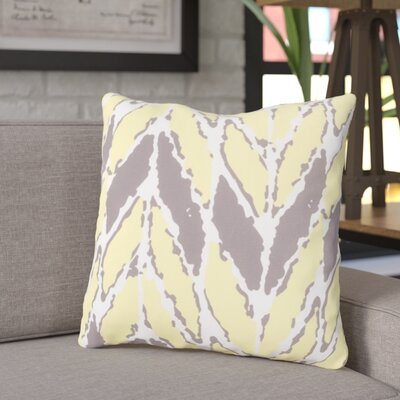 Aren Outdoor Throw Pillow Size: 26 H x 26 W x 4 D, Color: Yellow/Light Gray