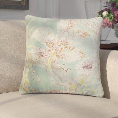 Letizia Floral Linen Throw Pillow Color: Seagreen