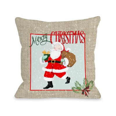 Eady Merry Christmas Santa Burlap Throw Pillow Size: 16 x 16