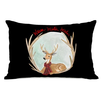 Ealy Warm Winter Wishes Antlers Lumbar Pillow