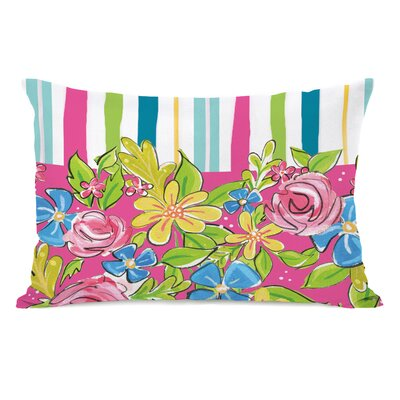 Petrus Colorful Flower Stripes Lumbar Pillow