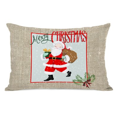 Eakin Merry Christmas Santa Burlap Lumbar Pillow