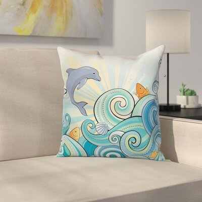 Kids Cartoon Dolphin Square Pillow Cover Size: 24 x 24