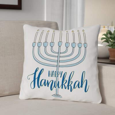 Happy Hanukkah Menorah Throw Pillow Size: 16 x 16