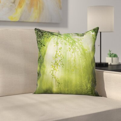 Forest Sunbeams Woodland Square Pillow Cover Size: 24 x 24