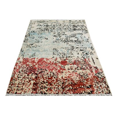 One-of-a-Kind Palmquist Hand-Knotted Wool Blue/Red Area Rug
