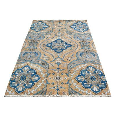 One-of-a-Kind Palmquist Hand-Knotted Wool Gold/Blue Area Rug