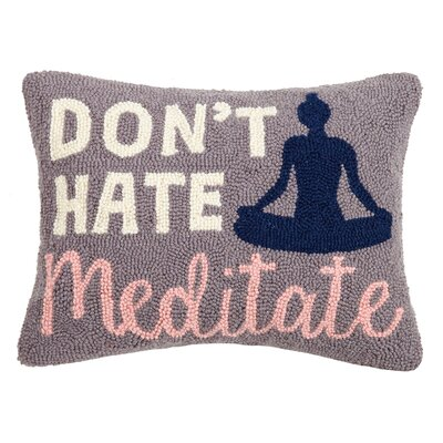 Paquin Dont Hate Meditate Wool Throw Pillow