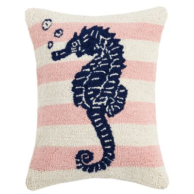 Hittle Pink Stripe Seahorse Wool Throw Pillow