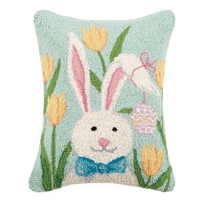 Gantt Bunny with Tulips Wool Throw Pillow
